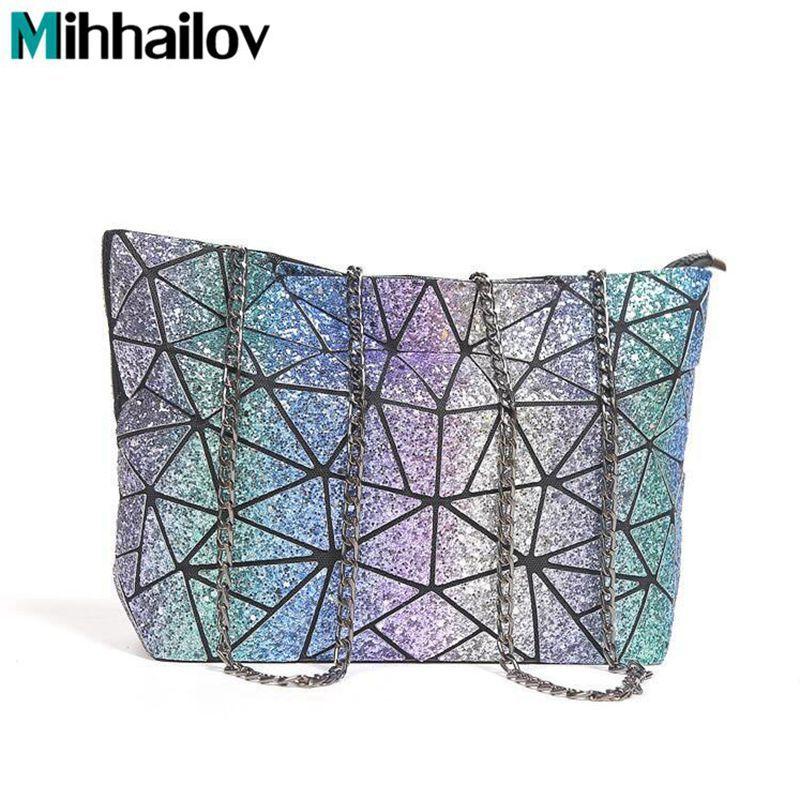 Starry Sky New BaoBao Bag Women chain Lightnig Luminous Geometry Women Shoulder Bags Plain Folding Messenger Bag bolso XS-292