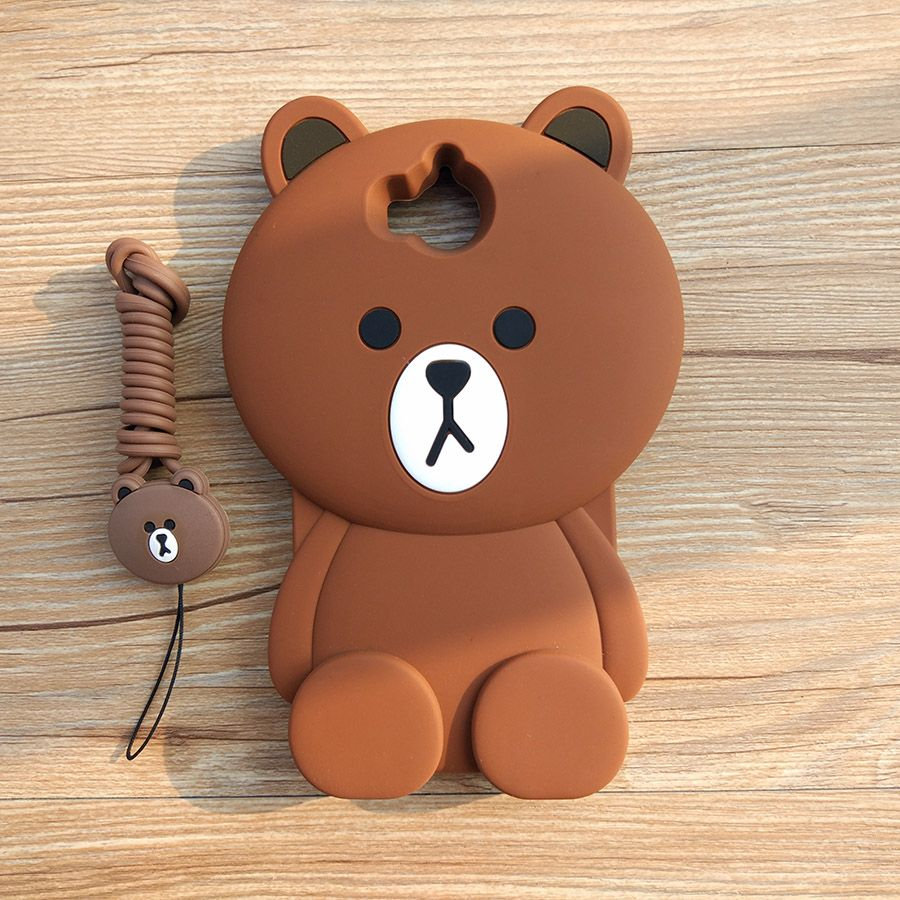 Cute Cartoon 3D Bear Phone Case for Huawei Y5 2017 Huawei Y6 2017 Soft Silicone Rubber Cover for Huawei Honor 6 Play Funda Coque