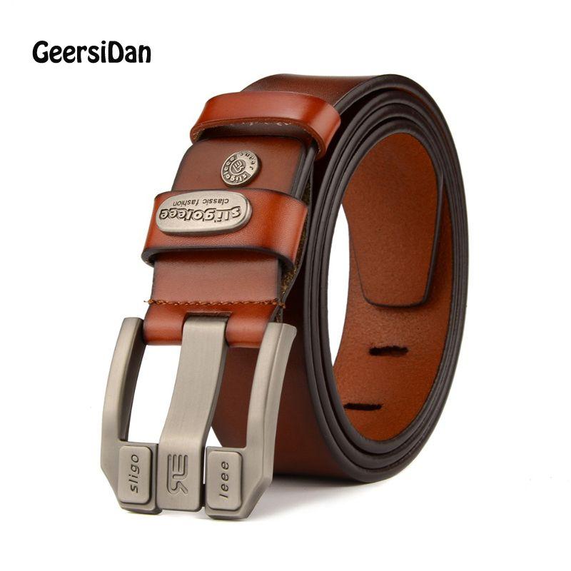 GEERSIDAN 2018 designer de haute qualité marque de luxe en cuir véritable boucle ardillon ceinture pour hommes de mode affaires hommes ceintures mâle sangle