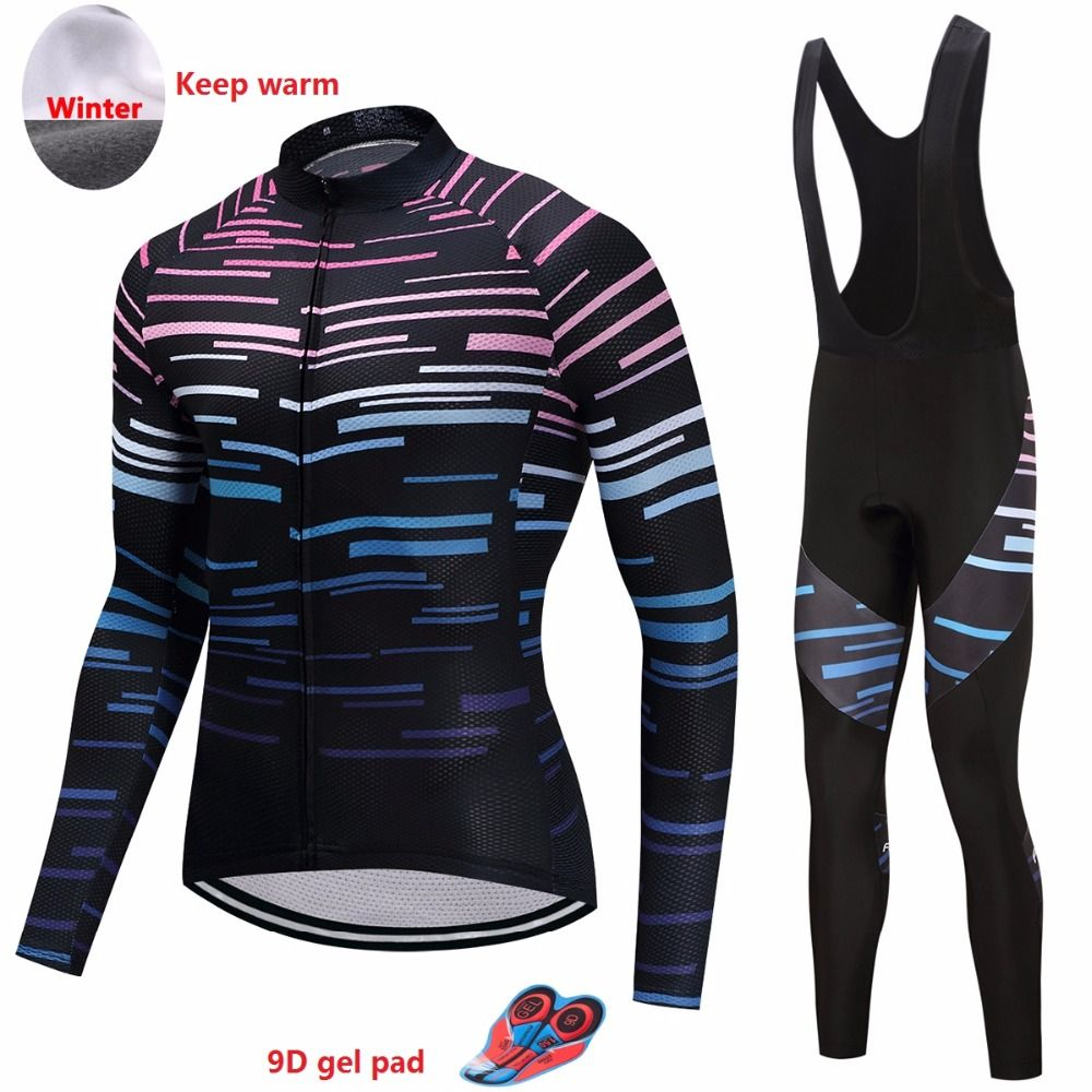 Warm winter cycling clothing set Men's long sleeve thermal fleece bike jersey ropa mtb retro bicycle clothes skinsuit kit wear