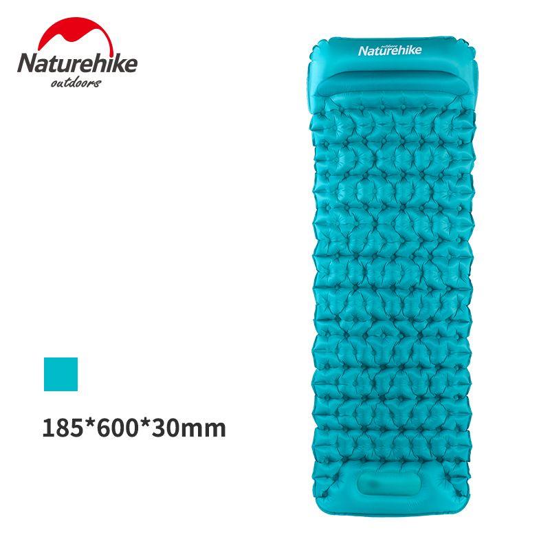 Naturehike 20D Nylon Outdoor Camping Mat Single Inflatable Beach Sand Free Mat With Pillow Ultralight Air Mattress about 585g