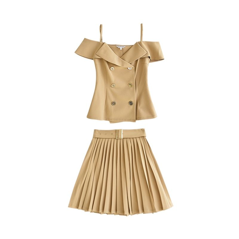 Dabuwawa 2018 Summer Off shoulder Women's Dress Sets New Fashion Korean Khaki Double Breasted Halter Suits and Pleated Skirt