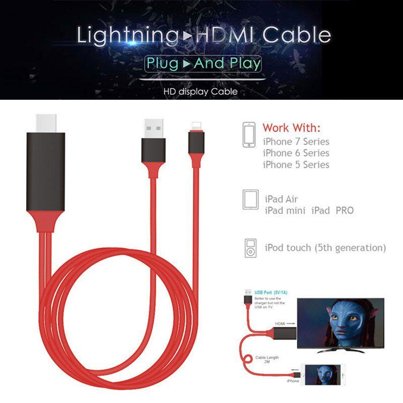 AHHROOU PLUG & PLAY Câble Pour La Foudre à HDMI HDTV TV Adaptateur USB câble 1080 P Pour iPad Air Pour iPhone X 8 7 7 Plus iOS11/10.3