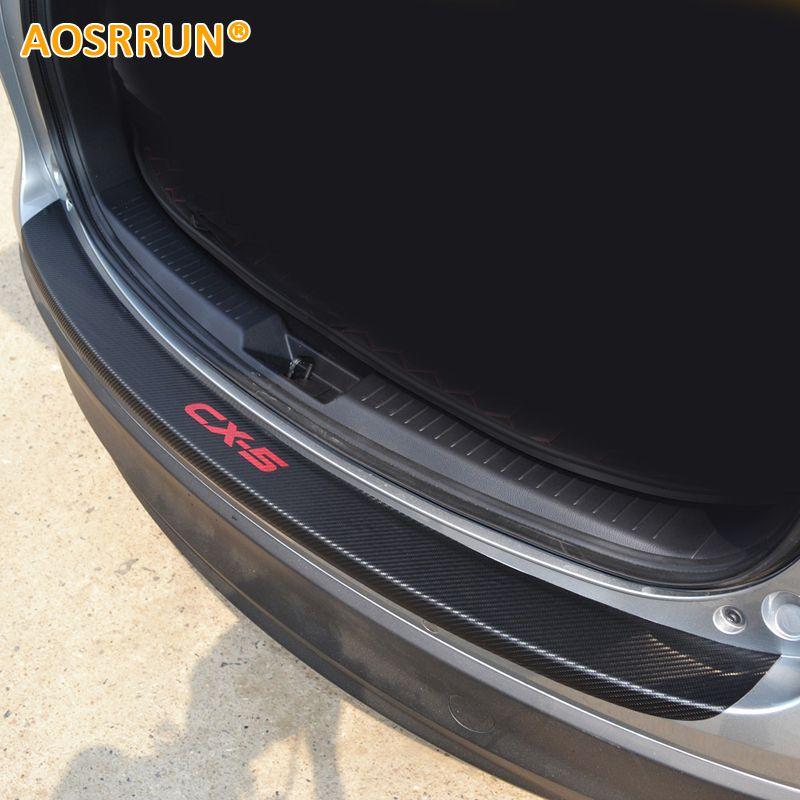 AOSRRUN PU leather Carbon fiber Stying After guard Rear Bumper Trunk Guard Plate Car Accessories For Mazda CX-5 CX5 2012-2015