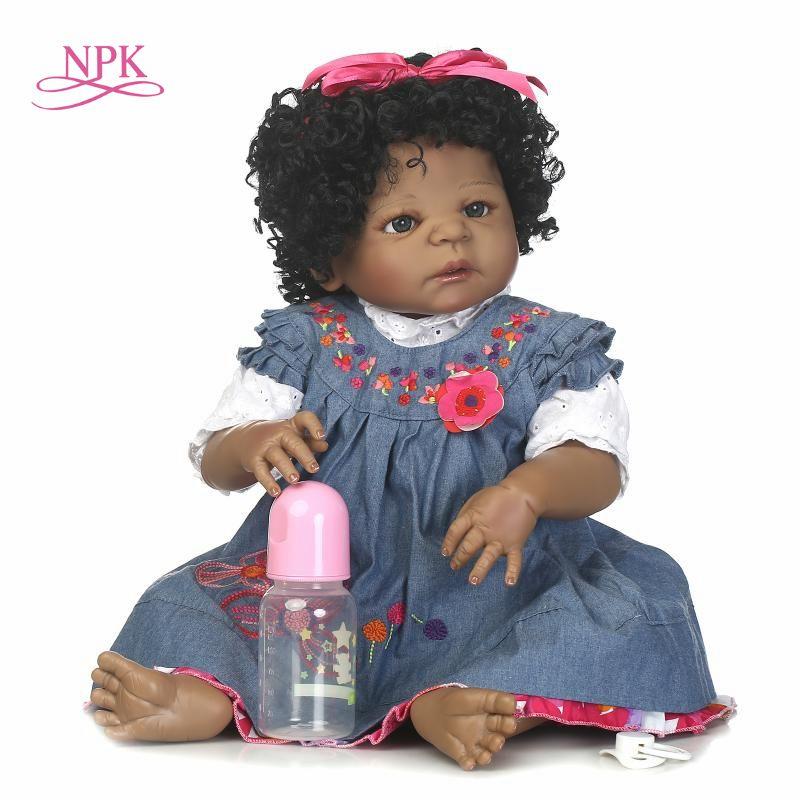 NPK reborn doll with soft real gentle  touch  free shipping black girl full vinyl doll best toys for children Birthday
