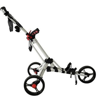 PLAYEAGLE Golf Push Cart Swivel Foldable 3 Wheels Pull Cart Golf Trolley with Umbrella Stand Golf Cart bag carrier