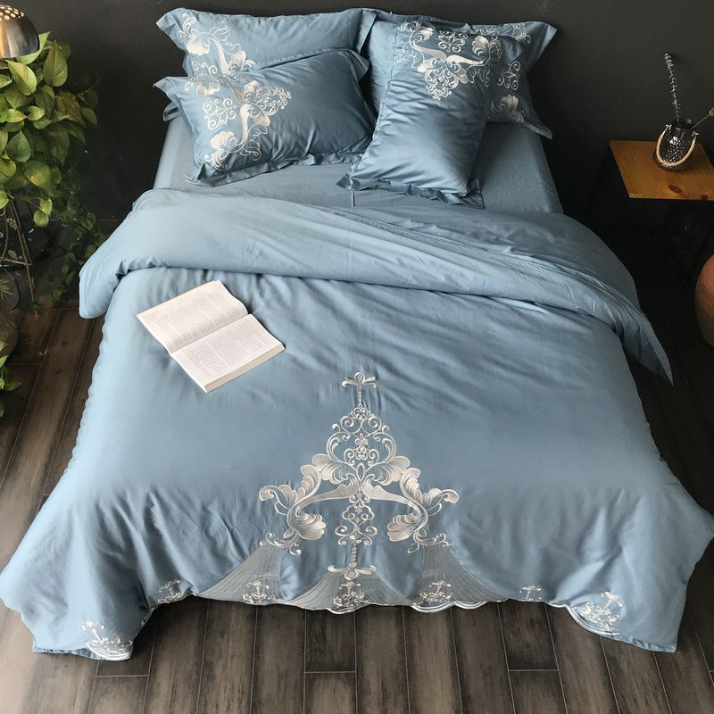 4pcs Luxury Egypt cotton Satin Palace Bedding set Embroidery New design Duvet cover set Bed Sheet Pillowcases Queen King size