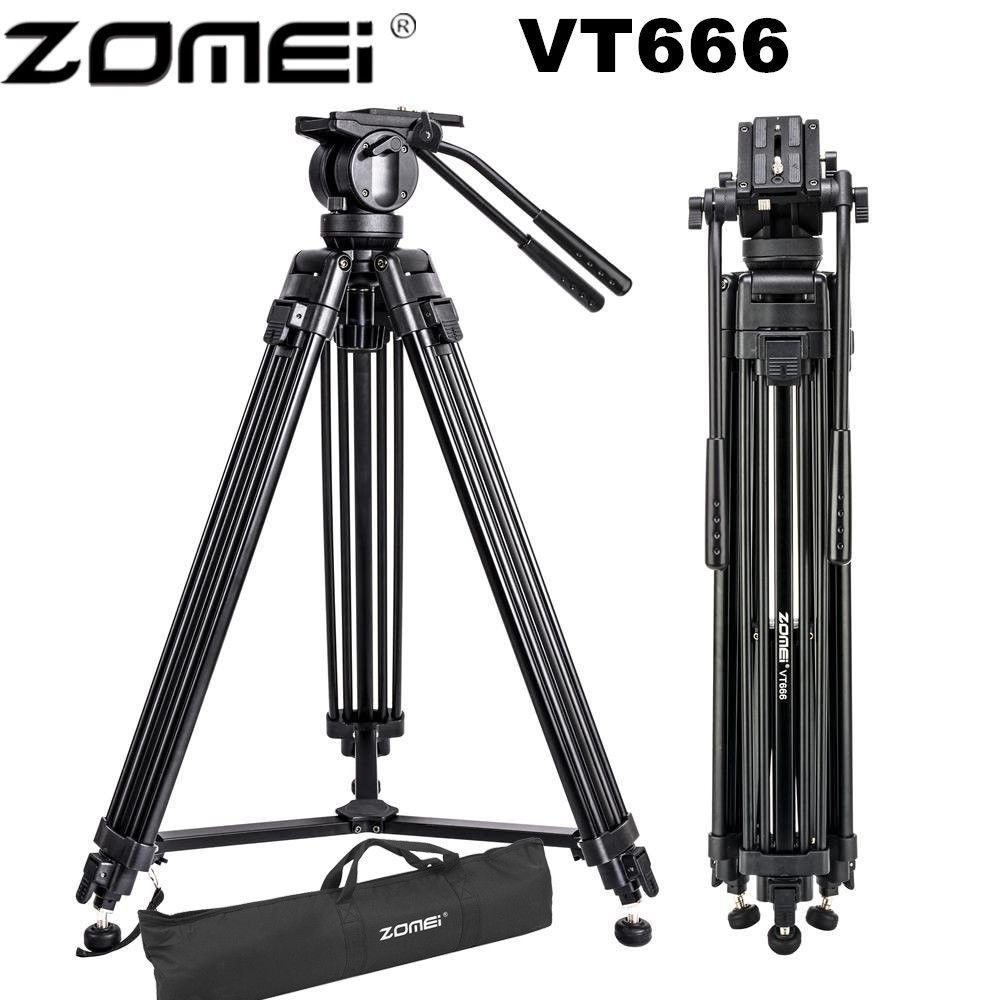 Zomei VT666 Professional Camera Video Tripod with 360-Degree Panoramic Fluid Head for DSLR Camcorder Video, DV, Photography