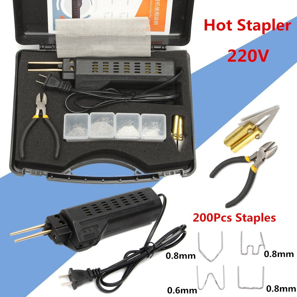 New 220-250V Hot Stapler Car Bumper Plastic Welding Torch Fairing Auto Body Tool Welder Machine 0.6/0.8mm + 200 Staples