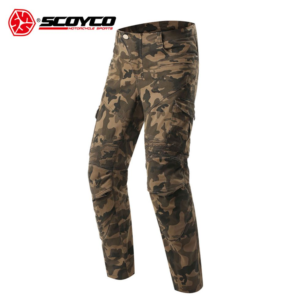 SCOYCO Motorcycle Pants Motorcycle Camouflage Jeans Motocross Trousers Off-Road Racing Pants Motorbike Jeans with CE Protectors