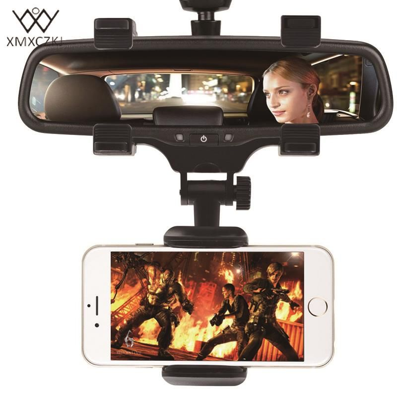 XMXCZKJ support pour téléphone voiture rétroviseur support pour téléphone 360 degrés pour iPhone Samsung GPS Smartphone support universel