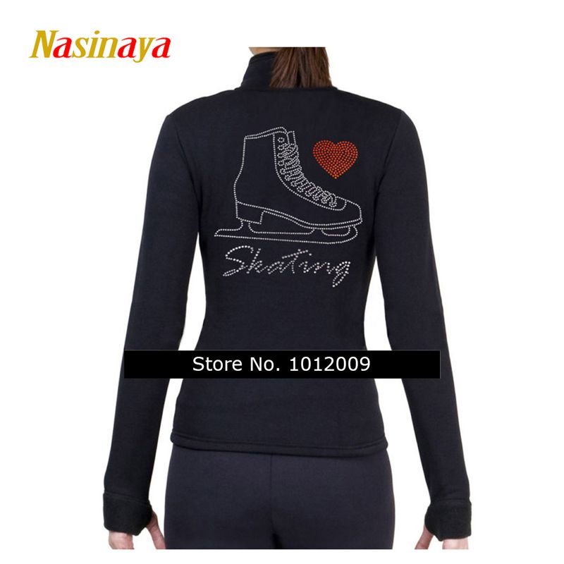 Customized Figure Skating Jacket Zippered Tops for Girl Women Training Competition Patinaje Ice Skating Warm Fleece Gymnastic 26