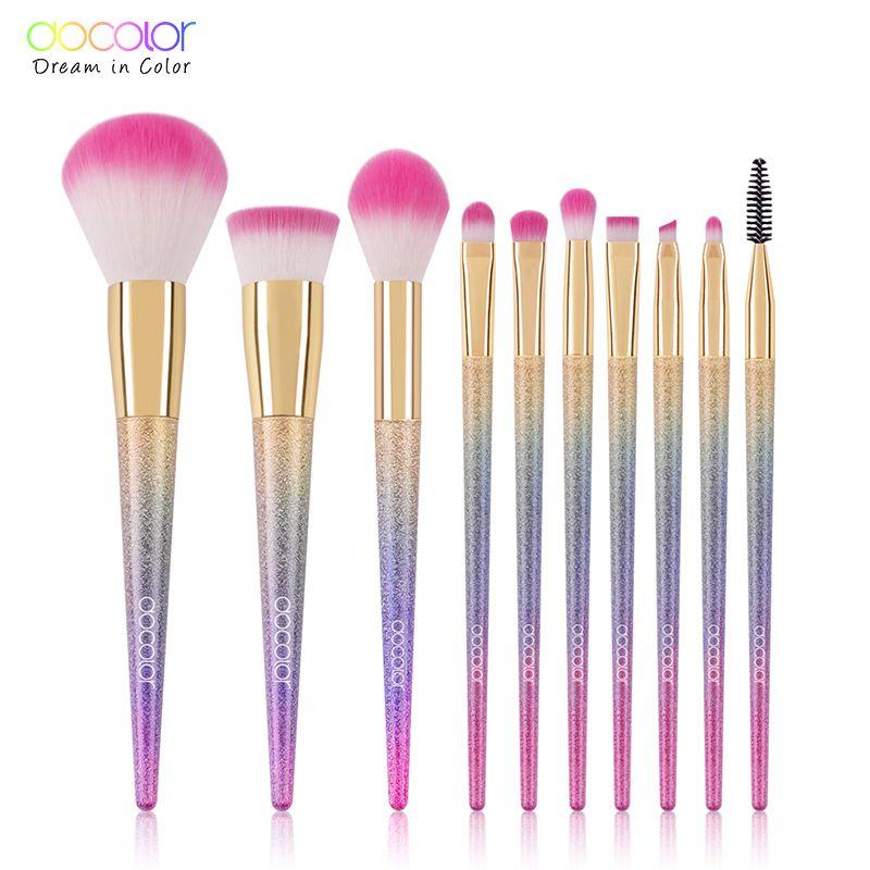 Docolor Profession fantaisie pinceaux de maquillage ensemble 10 pcs/lot ombre à paupières mélange Eyeliner cils sourcils pinceaux pour outils de maquillage