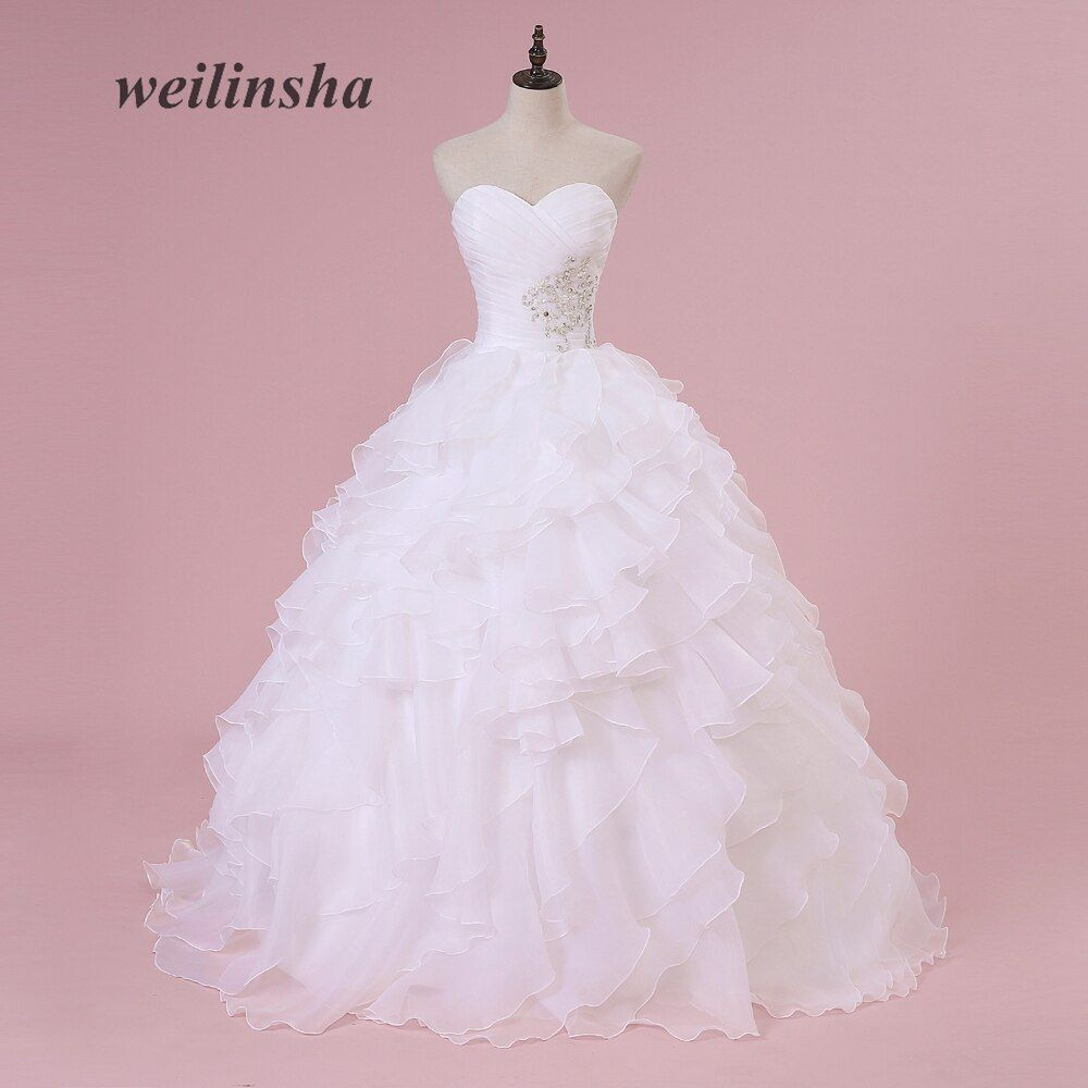 weilinsha Corset Stock Organza Wedding Dresses Ruffles Beaded Robe de Mariee Plus Size Ball Gown Romantic Bridal Dress