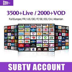 Europen et Arabe IPTV Français Subtv avec 3500 + chaîne En Direct 1 année Iptv code D'abonnement pour android M3U Smart Tv, MAG25X boîte