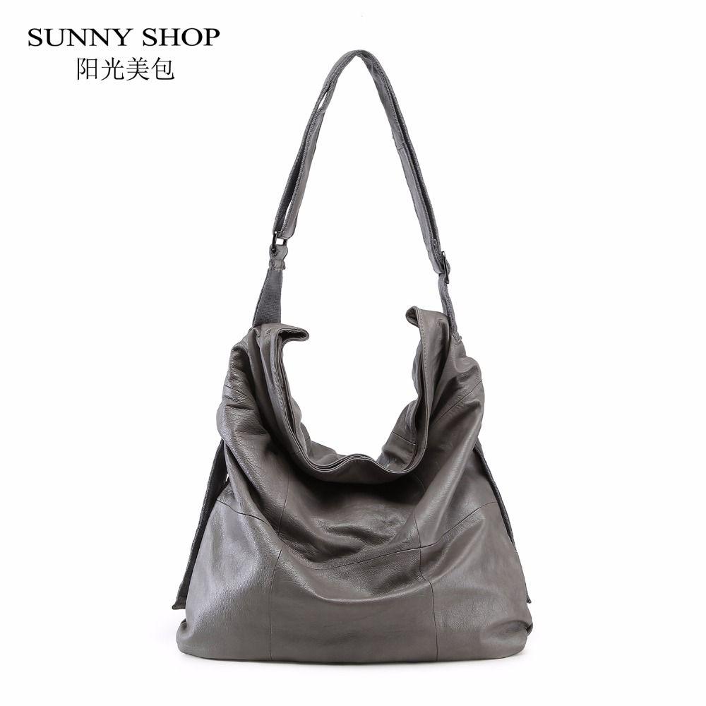 SUNNY SHOP 100% Genuine Leather Women Bag Brand Designer Big Over The Shoulder Bags Solid Soft A4 Large Luxury Handbags Casual