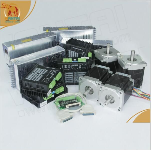 Ship Worldwide!!!! 4 Axis Nema 34 Wantai Stepper Motor dual Shafts 1600oz-in, 3.5A & 80VDC,7.8A Foam Mill Cutter Engraver