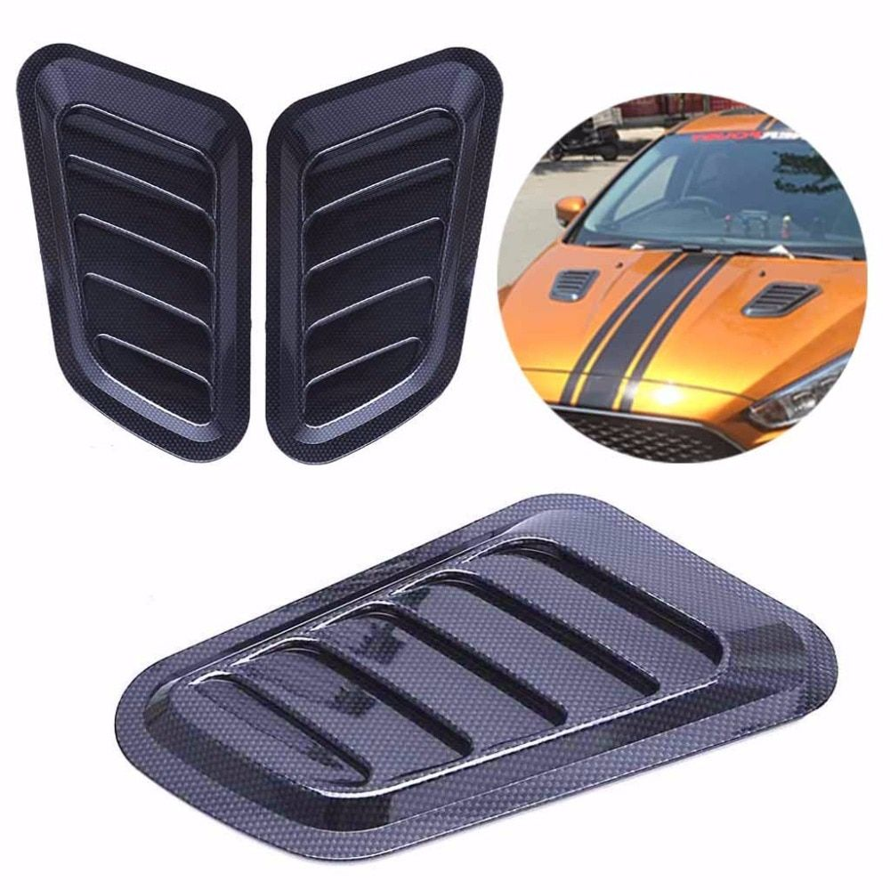 1pc Universal Car Styling Sticker ABS Decorative Air Flow Intake Bonnet Vent Cover Hood Air Flow Fender High Quality