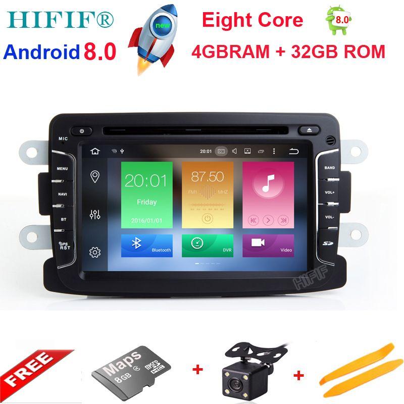 HIFIF Android 8.0 8 Core 4 GB + 32 GB GPS Navigator Radio Für Dacia Renault Duster Logan Sandero Auto DVD zentrale Kassettenspieler