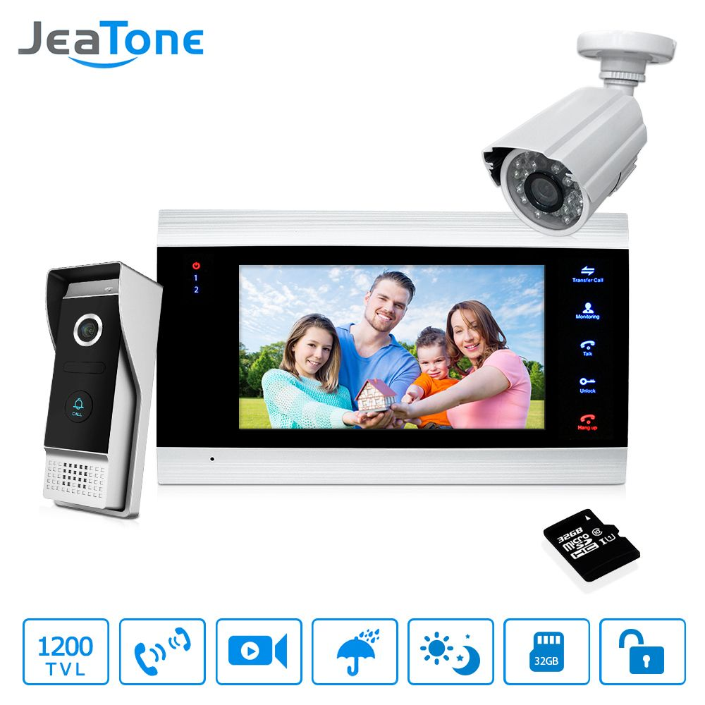 7'' Video Door Phone Doorbell Intercom Access Control Intercom System Motion Detection +Extra 1200TVL Outdoor Camera + 32G Card