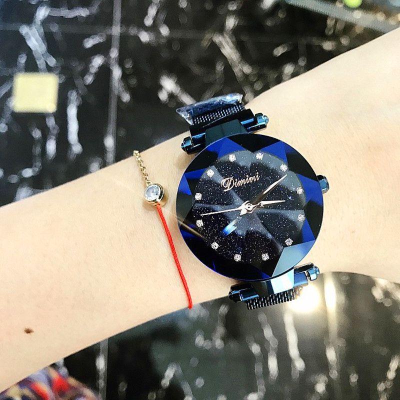 2018 neue Stil Frauen Uhren Mode Frauen Kreative Luxus Sternen Quarz Uhren Einfache Magnet Stein Strap Uhr zegarki mens-quarz-sport-armbanduhren damskie