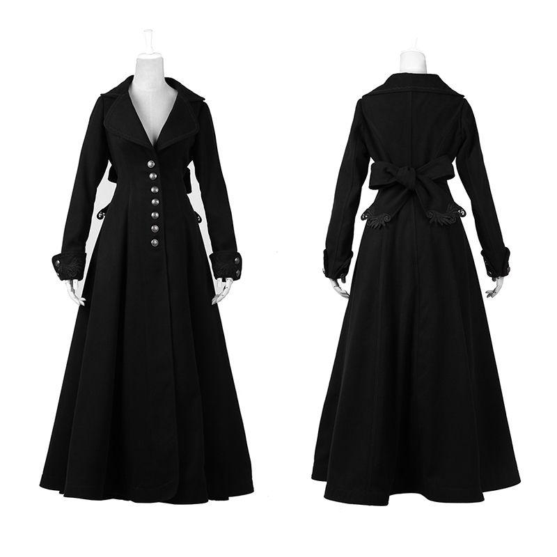 Gothic Retro Palace Floor-Length Worsted Coats for Women Fashion Punk Black V-Neck Long Trench Coats Overcoats Windbreakers