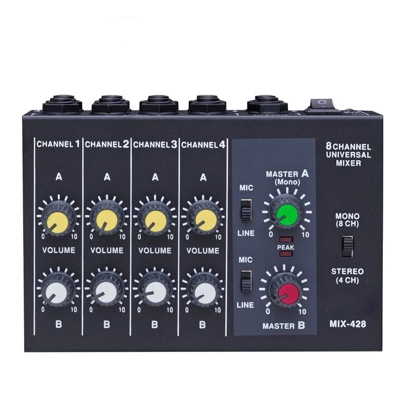 Top qualiy mixer Portable Switchable Stereo 4 & Mono 8 Channels Microphone Audio Mini Mixer Console Can be Powered By 9V Battery