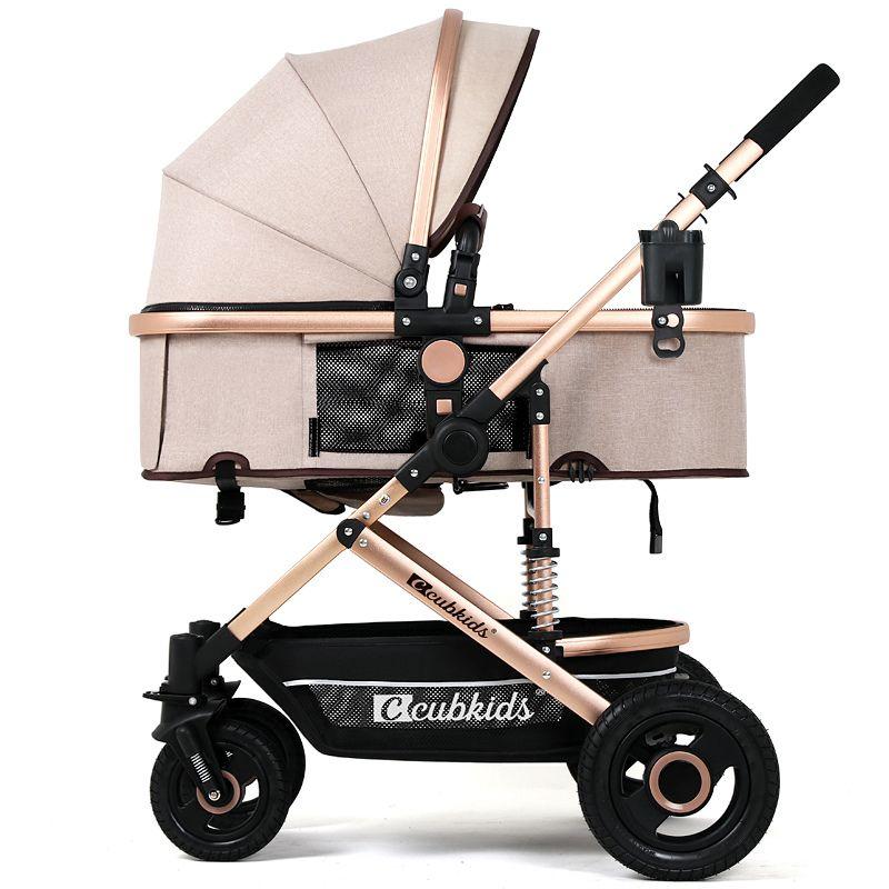 Four-wheel High Landscape Baby Stroller for 0~3Y Children Luxury Trolley Portable Pushchairs Folding Sit&Lie Infant Durable Pram