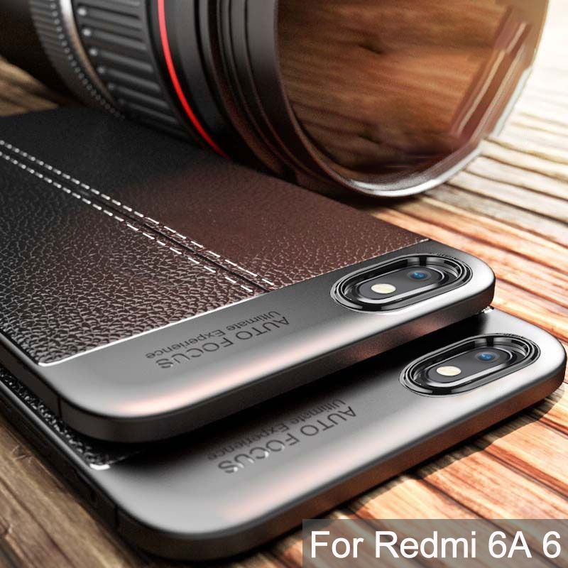 Rugged Case For Xiaomi Redmi 6A Case Cover Silicone Bumper Matte Litchi Pattern Shockproof Back Cover For Xiaomi Redmi 6A Case