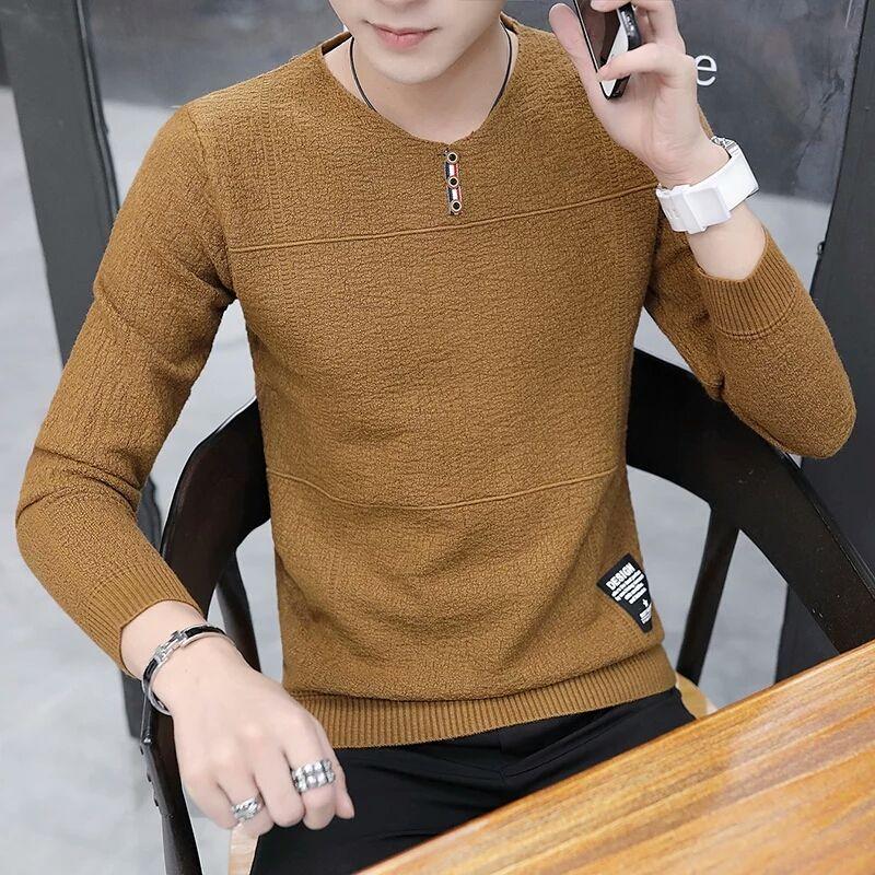 2018 New Mens Long Sleeve T-Shirt cotton clothes shirt coat sweater mens clothing slim autumn