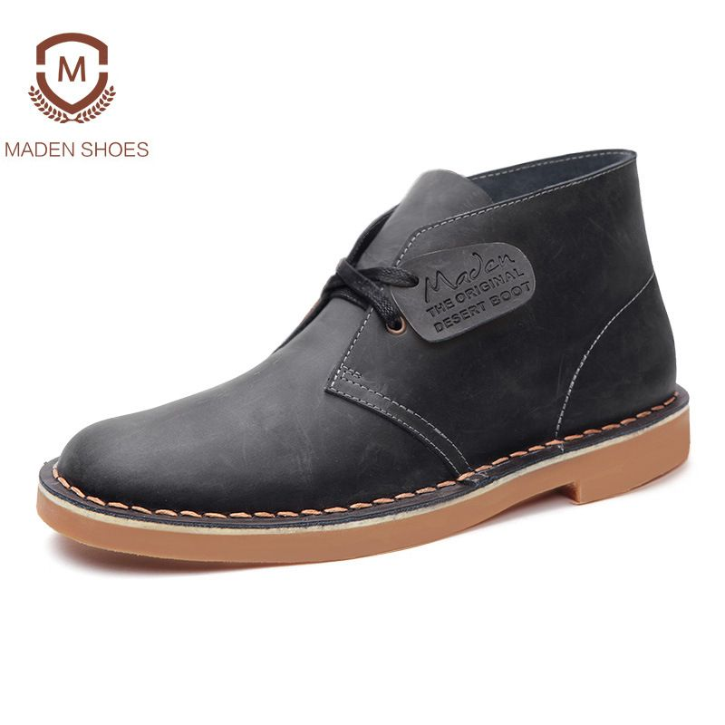 Maden Brand 2018 Genuine Leather Men Ankle Boots British Style Top Quality Martin Boots Desert Tooling Boots Botas Hombre
