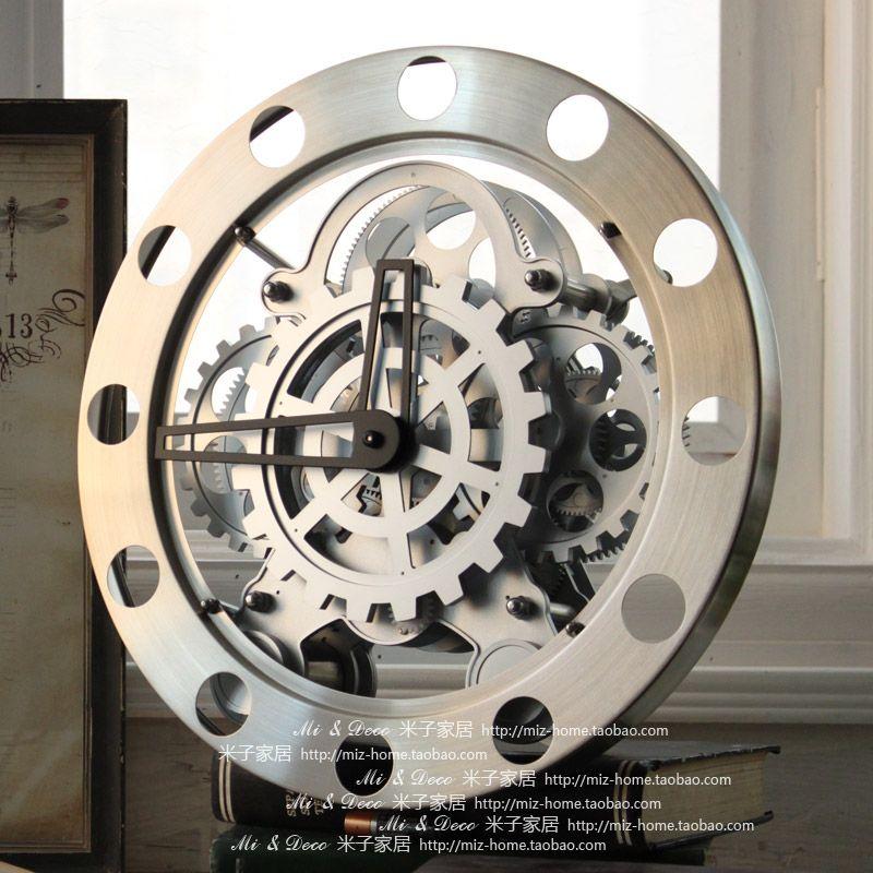 Modern fashion personality watches and digita wall clock cutout gear clock digital