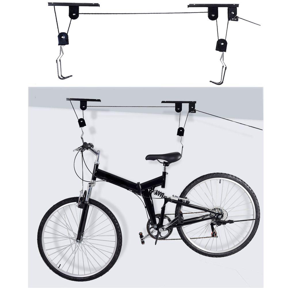 Bike Bicycle Lift Ceiling Mounted Hoist Storage Garage Hanger Pulley Rack 45 LBS Capacity Durable Metal Black Lift Assemblies