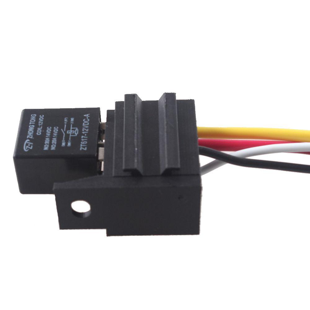 EE unterstützung 5X12 V 20A/30A SPST Relais Für Elektrische Lüfter Kraftstoff pumpe Horn Kit 4 P 4 Draht Mit Buchse Auto Styling XY01