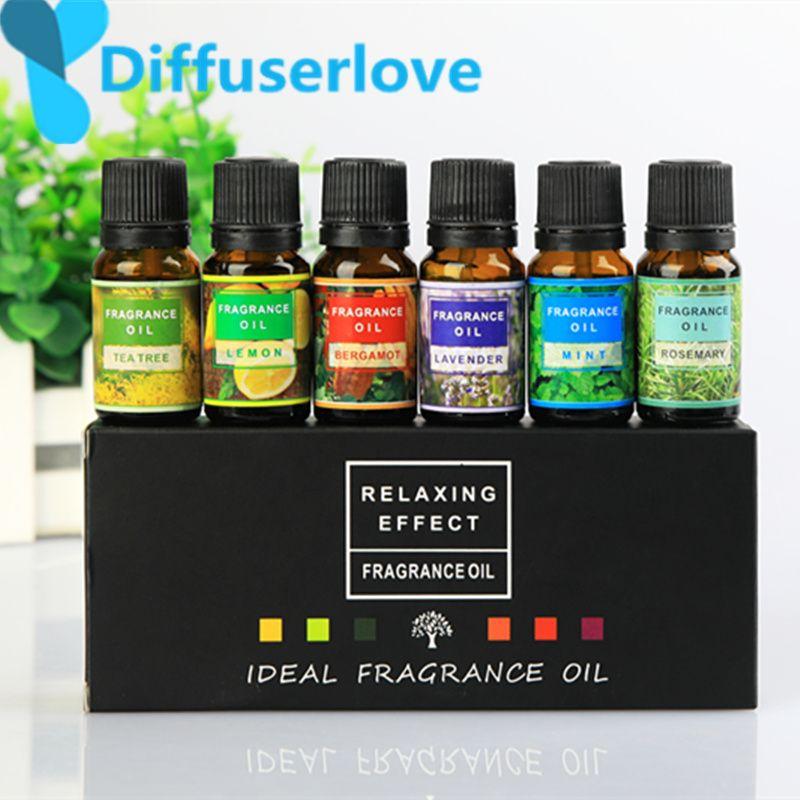 Diffuseur huiles essentielles pour 10 ml pour aromathérapie huiles solubles dans l'eau Massage du corps Relax 6 saveur/boîte de citron lavande, ect