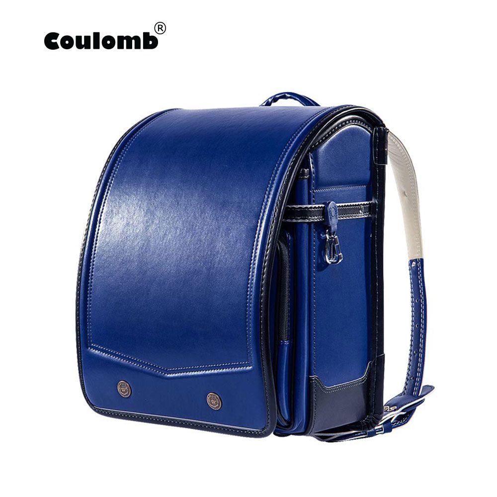 Coulomb Randoseru Kid PU Solid High Quality Brand Children's Bag Backpack For The Boy Children School Bag Japan Backpack 2018