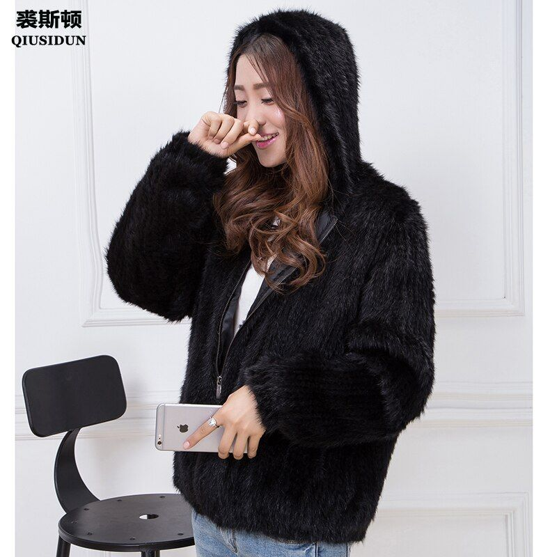 Real Mink Knitted Coat Fashionable Fur Coat With Chinese Fur Winter Jacket Large Lined Coat With Lining Hooded Black Coat