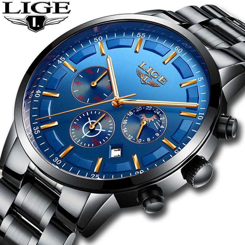 2018 LIGE Watch Men Fashion Sports Quartz Mens Watches Top Brand Luxury Moon phase Business Waterproof Watch Relogio Masculino