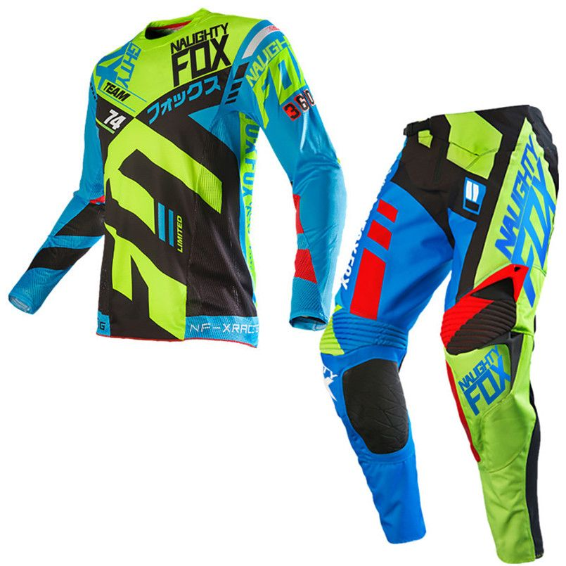 Free Shipping 2018 NAUGHTY 360 Divizion Motocross Suit Set Motocross ATV Dirt Bike Off-Road Race Gear Pant & Jersey Combo