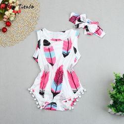 ISHOWTIENDA nouveau-né Bébé filles vêtements impression nouveau-né Barboteuse bébé fille salopette + bébé bandeau 2 PCS Gland bébé salopette pour enfants