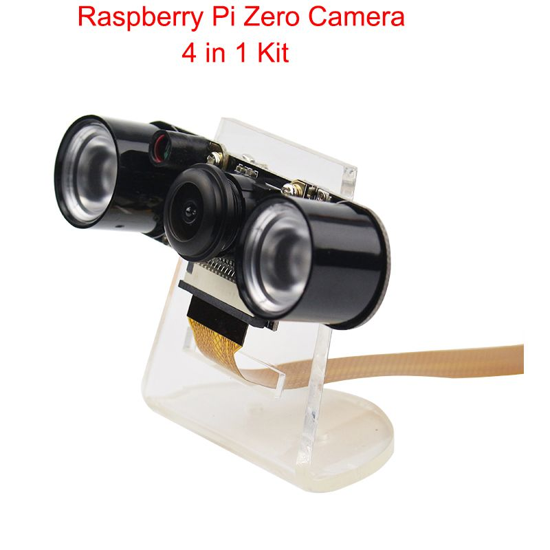 Caméra Raspberry Pi Zero W 130 degrés Fisheye Vision nocturne caméra 5MP + 2 lumière LED IR + support acrylique + 15 30 cm câble FFC