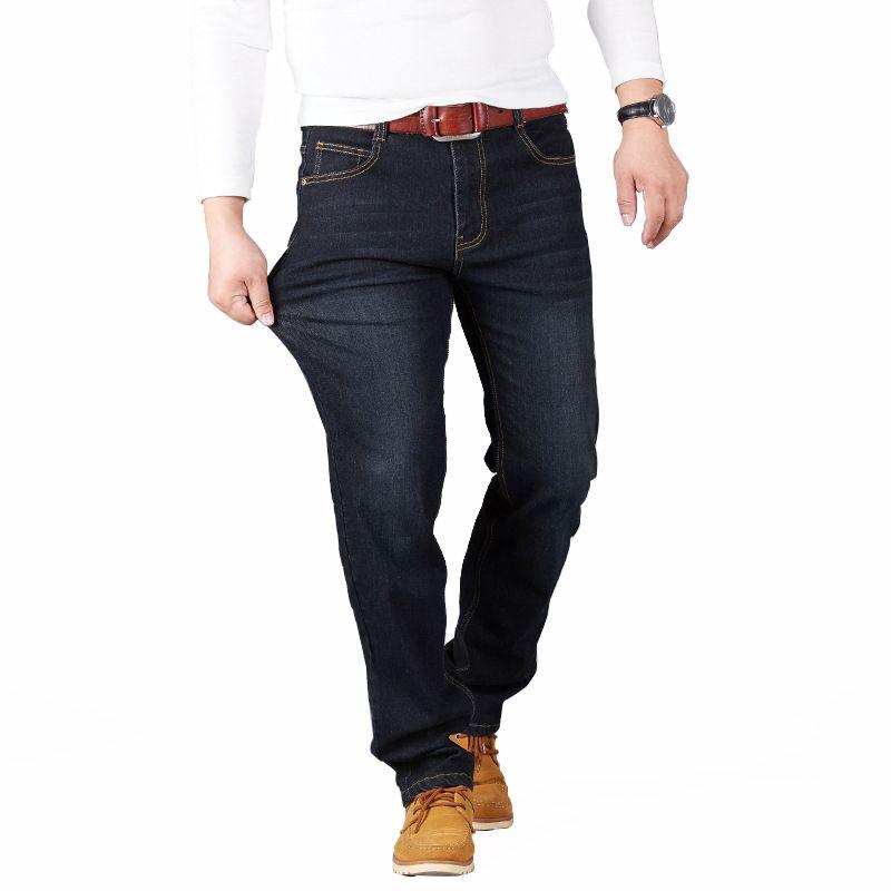 28-48 большой Размеры человек Брюки для девочек Высокая растянуть прямые длинные облегающие брюки модные Повседневное цвет: черный, синий ден...