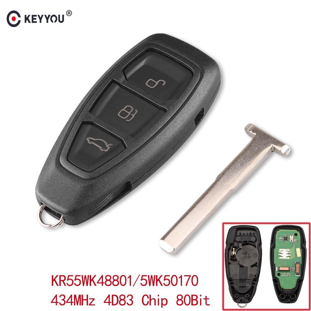 KEYYOU 434/433 mhz 4D83 Chip KR55WK48801 3 Tasten Auto Schlüssel Fernbedienung Schlüssel für Ford Focus C- max Mondeo Kuga Fiesta B-Max