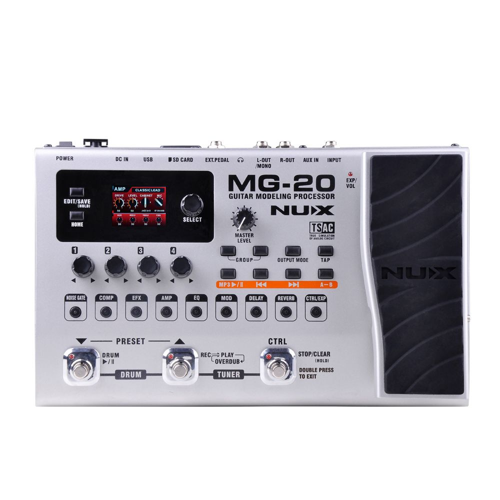 NUX MG-20 Guitar Effects Modeling Processor Drum Pattern Switch Pedal Solo Tapo Delay Guitar Multi-Effects AMP Multi Function