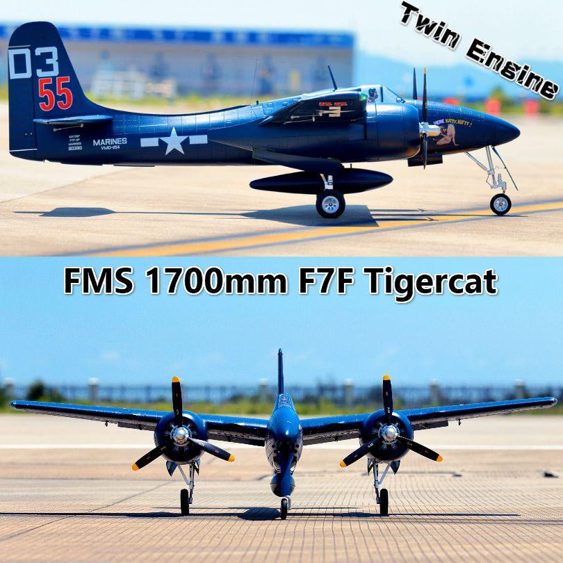 FMS RC Flugzeug 1700mm 1,7 m F7F Tiger Katze Twin Motor Blau/Splitter PNP Großen Maßstab Gaint Warbird modell Hobby Flugzeug Flugzeug Avion