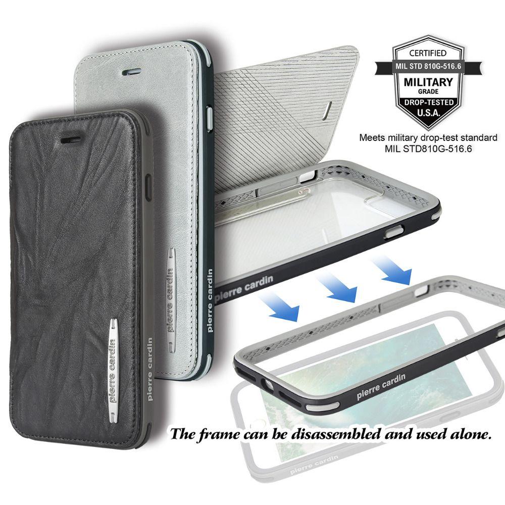 Pierre Cardin Genuine Leather Cell Phone Case For iPhone 8/8 Plus 7/7 Plus Detachable Flip Bracket Soft Silica Gel Cover Case