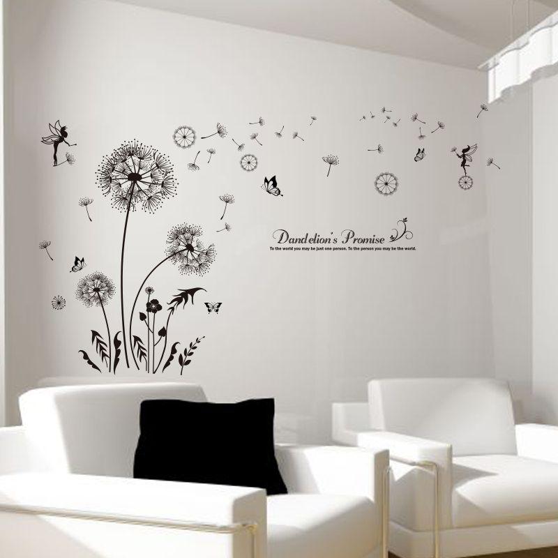 [SHIJUEHEZI] Negro Flor Diente de León Pegatinas de Pared de Vinilo DIY Arte Mural para la Sala de estar Sofá de Fondo la Decoración Del Dormitorio