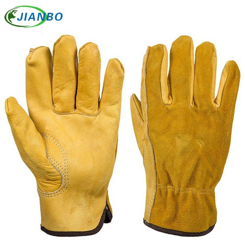 JIANBO cuir travail pilote gants mécanicien Protection travail sécurité travailleurs soudage chasse peau de vache moto gants pour hommes
