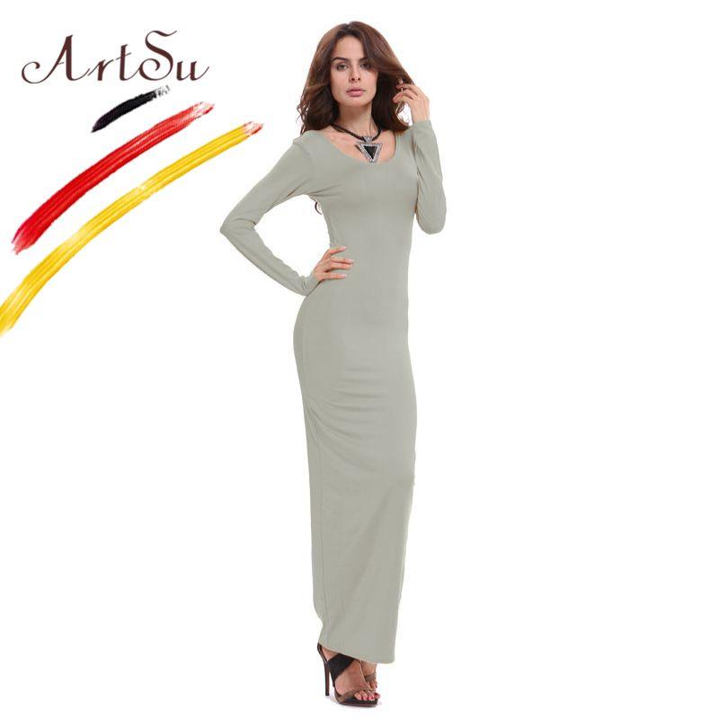 ArtSu basique coton femmes Maxi Robe Vestidos 2017 nouveau automne hiver longue Robe décontracté Robe dames Slim robes Robe ASDR20247