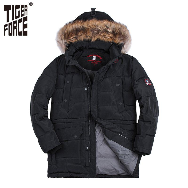 TIGER FORCE Hot Sale Men Fashion Padded Jacket Long Parka Winter Hooded Coat Parkas Raccoon Fur Collar Rib Cuff Free Shipping